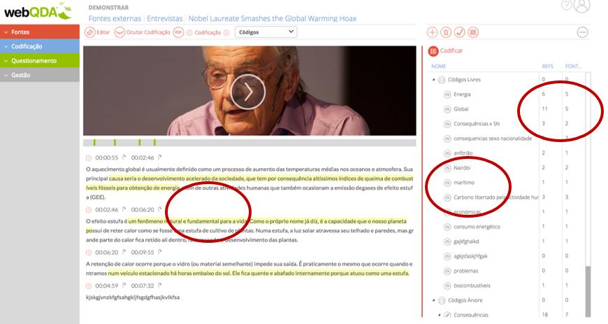 webQDA Codificação Vídeo e Texto