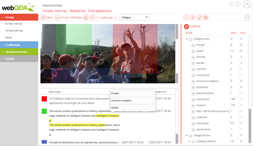 Figure 1 - Example of analyzing an image in webQDA