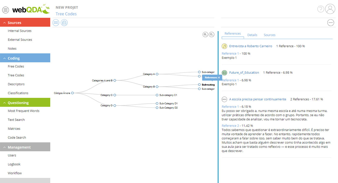 Code tree on webQDA