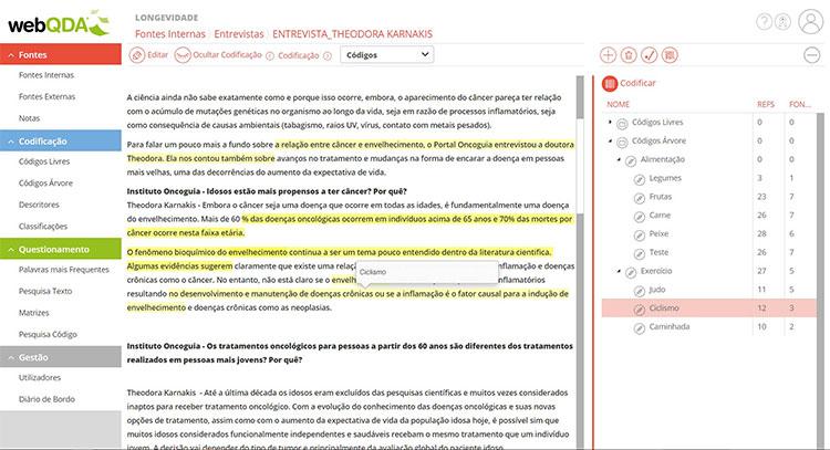 Codificação de texto no webQDA