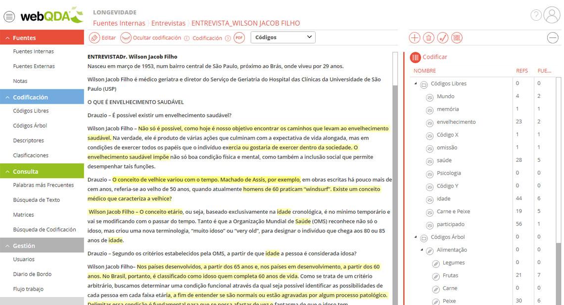 Codificar texto en webQDA