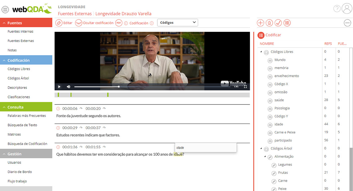 Codificar video en webQDA