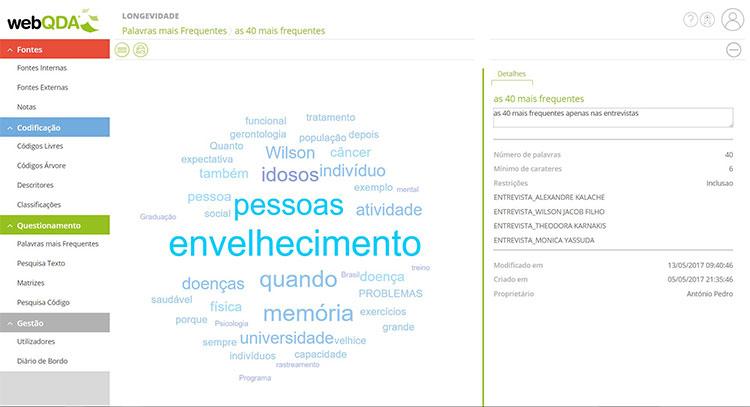 Nuvem de palavras webQDA