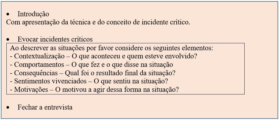 Quadro 2 - Guião recolha de informação técnica de incidentes críticos