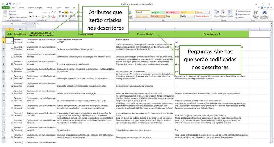 Importação Ficheiro Excel webQDA