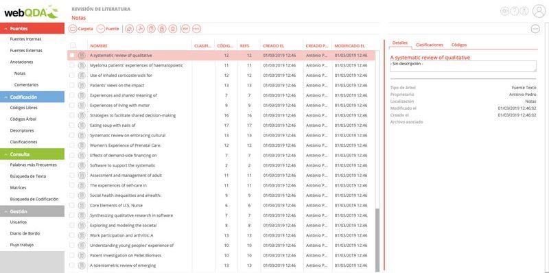 Importación de metadatos para el webQDA