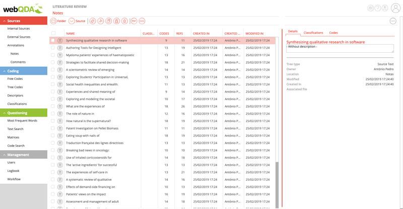 Import metadata into webQDA