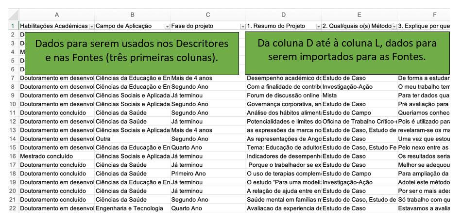 Organização das respostas através de um ficheiro XLSx