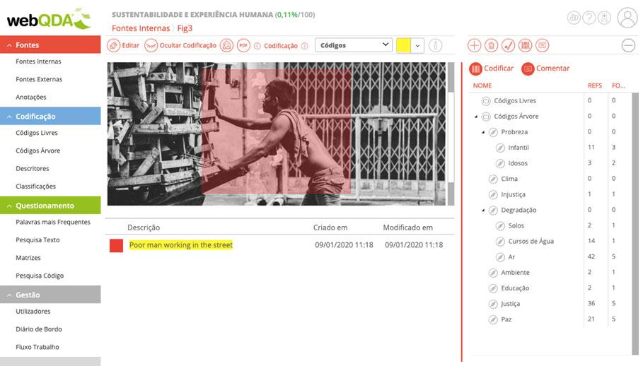 Rótulo descritivo e interpretativo de uma imagem webQDA