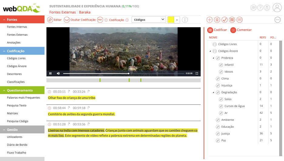 Exemplo de descrição e transcrição de vídeo e respectivas codificações webQDA