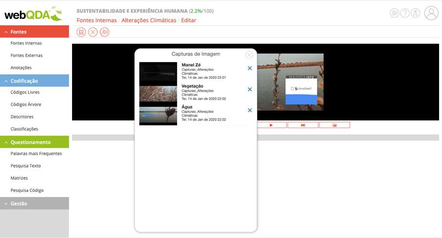 Captura de imagens através de um vídeo disponível nas Fontes Internas webQDA