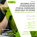 Webinar: Revising auto ethnographic ethical guidelines from self to other. Nothing about us, without us