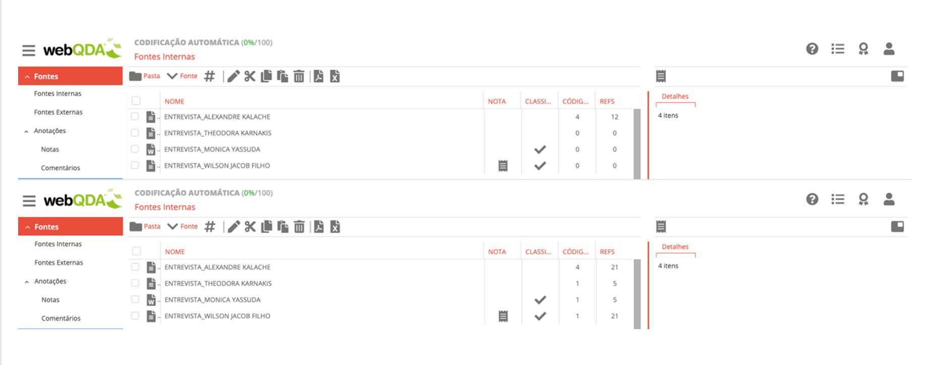 Número de referências antes e após a Codificação Automática