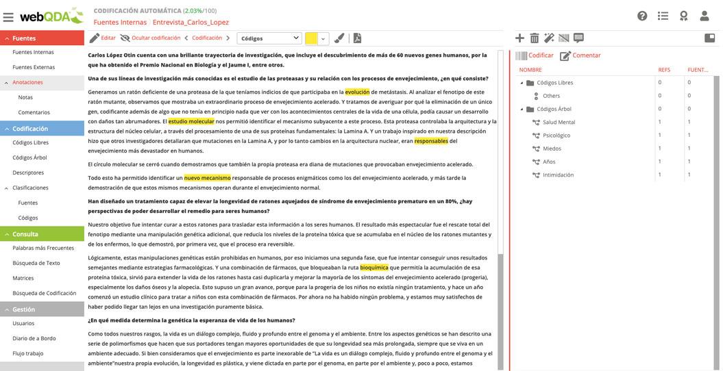 webQDA Codificación inductiva de unidades de texto