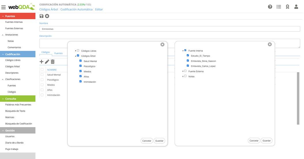 webQDA Preparación del AC mediante la selección de códigos y fuentes