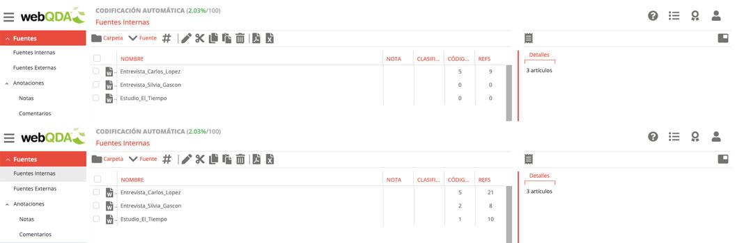 webQDA Número de referencias antes y después de la codificación automática