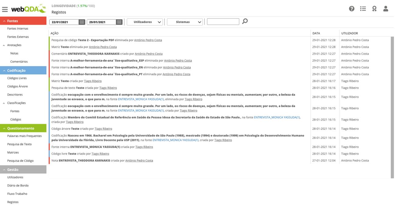 Registos de Ações no webQDA