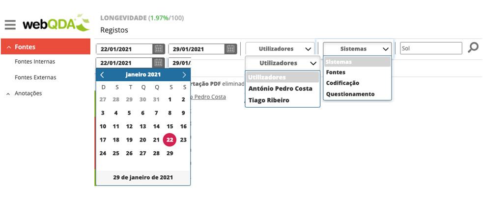 """Opções do menu """"Registos de Ações"""" webQDA"""