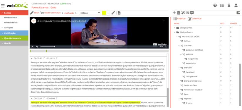 Subtarefa 1 (ST1) – Levantamento e organização dos dados no webQDA